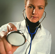 Stethoscope Posters - Patients Eye View Of A Gp Doctor With Stethoscope Poster by Tek Image