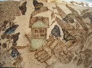 Insects Pyrography Originals - Patio Garden by Doris Lindsey