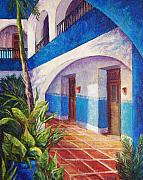 Tiles Painting Framed Prints - Patio in Merida Framed Print by Candy Mayer