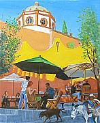 Mexico People Paintings - Patio by Neal Smith-Willow