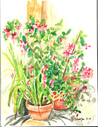 Outdoor Still Life Paintings - Patio Pots by Teresa Sharp
