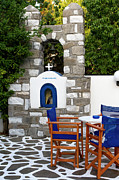 Greek Icon Posters - Patio Shrine Poster by Lorraine Devon Wilke