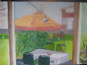 Table And Chairs Framed Prints - Patio umbrella Framed Print by Carla Goodstein