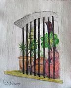 Window Bars Prints - Patio Window Print by Judith Espinoza