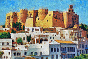 Colorful Paintings - Patmos by George Rossidis