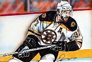 Nhl Hockey Drawings Prints - Patrice Bergeron Print by Dave Olsen
