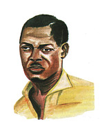 Independence Drawings Prints - Patrice Lumumba Print by Emmanuel Baliyanga