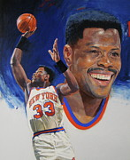 New York Knicks Framed Prints - Patrick Ewing Framed Print by Cliff Spohn