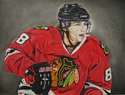 Yellow Stripes Drawings Posters - Patrick Kane Poster by Brian Schuster
