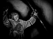 Blackhawks Drawings - Patrick Kanes 100th Goal by Melissa Goodrich