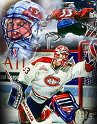 Goalie Digital Art Framed Prints - Patrick Roy Collage Framed Print by Mike Oulton