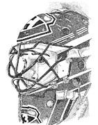 000 Individual Dots. I Use Mainly Pen And Ink And Graphite In My Renderings. I Also Do Commissioned Art That Includes Buildings Prints - Patrick Roy Portrait Print by Marty Rice