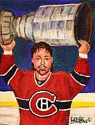 Montreal Canadiens Framed Prints - Patrick Roy Wins The Stanley Cup Framed Print by Carole Spandau