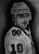 Blackhawks Drawings - Patrick Sharp by Melissa Goodrich