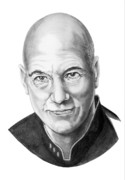 Famous People Drawings - Patrick Stewart by Murphy Elliott