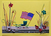 4th July Mixed Media Prints - Patriot Frog Print by Gracies Creations
