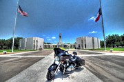 Half Staff Posters - Patriot Guard Rider at the Houston National Cemetery Poster by David Morefield