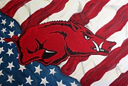 Razorbacks Prints - Patriot Hog Print by Nathan Grisham
