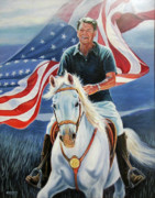Reagan Painting Framed Prints - Patriot Framed Print by Vicki Crone