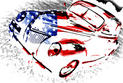 Ford Custom V8 Posters - Patriotic 39 Ford Poster by Phil