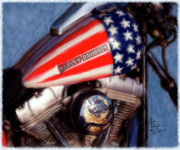 Motorcycles Art - Patriotic and Ready to Ride by Colleen Taylor