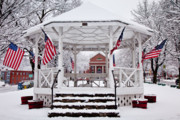 American Flag Framed Prints - Patriotic Bandstand Framed Print by Susan Cole Kelly