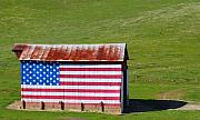 Landmarks Art - Patriotic Barn by Kerry Reed