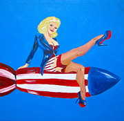 4th Of July Paintings - Patriotic bombshell by Tracey Bautista