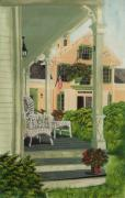 Hanging Baskets Framed Prints - Patriotic Country Porch Framed Print by Charlotte Blanchard