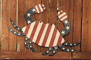 Folk Art American Flag Photos - Patriotic Crab by John Turek