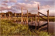 Sunset Greeting Cards Prints - Patriotic Dock Print by Debra and Dave Vanderlaan