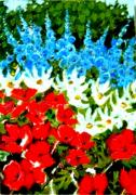 4th July Painting Prints - Patriotic Garden Print by Diane Ursin