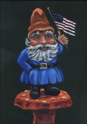 Patriotic Paintings - Patriotic Gnome by Gail Finn