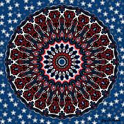 4th July Digital Art Posters - Patriotic Mandala Poster by Joy McKenzie