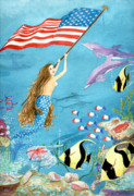 Sealife And Beaches - Patriotic Mermaid by Pauline Ross