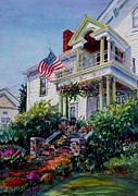 Patriotic Paintings - Patriotic Portico by Betsy Aguirre
