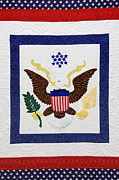 Needlepoint Framed Prints - Patriotic Quilt Framed Print by Jeremy Woodhouse