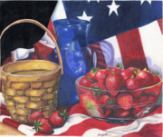 Blue Vase Painting Posters - Patriotic Strawberries Poster by Angela Armano