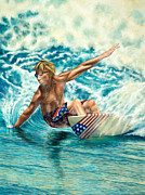 Patriotic Paintings - Patriotic Surfer by Douglas Fincham