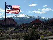 Patriot Digital Art Originals - Patriotism at Pikes Peak by Diane Wallace