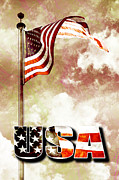 Flag Pole Digital Art - Patriotism the American Way by Phill Petrovic