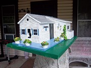 House Sculptures - Pats Cottage Birdhouse by Gordon Wendling