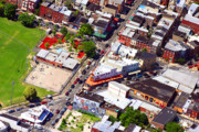 Aerial Acrylic Prints - Pats King of Steaks and Genos Steaks South Philadelphia 4542 by Duncan Pearson