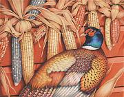 Pheasant Drawings Prints - Patterns Of Indian Summer Print by Amy S Turner
