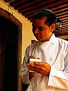 Waiter Photos - Patzcuaro Waiter Writing Orders by Olden Mexico