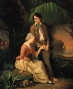 French School; (19th Century) Metal Prints - Paul and Virginie Metal Print by French School