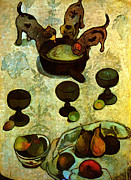 Dog Photographs Prints - Paul Gauguin Still Life with Three Puppies 1888  Print by Pg Reproductions