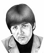 Pencil Portrait Prints - Paul McCartney 1965 Print by Sheryl Unwin