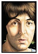 Celebrities Drawings Metal Prints - Paul McCartney 1968 Metal Print by Sheryl Unwin