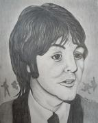 Mccartney Drawings Posters - Paul McCartney 2 by Richard Brooks. Poster by Richard Brooks